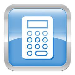 pictogramme calculette série carré bleu