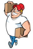 Cartoon of burly delivery man carrying two boxes poster