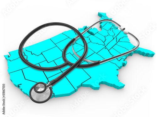 Stethoscope and United States Map - National Health Care