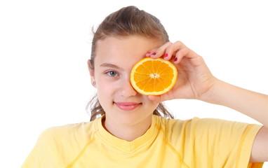 Zitrusfrucht vor dem Auge