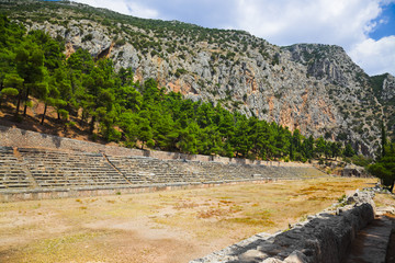Ruins of stadium in Delphi, Greece