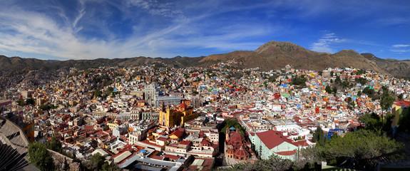 Panoramic cityscape of Guanajuato Mexico