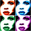 Viso Donna Pop Art-4 Colori-Stylized Woman Girl's Face -Vector