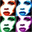 Viso Donna Pop Art-4 Colori-Stylized Woman Girl's Face -Vector