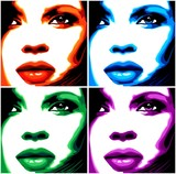 Fototapety Viso Donna Pop Art-4 Colori-Stylized Woman Girl's Face -Vector