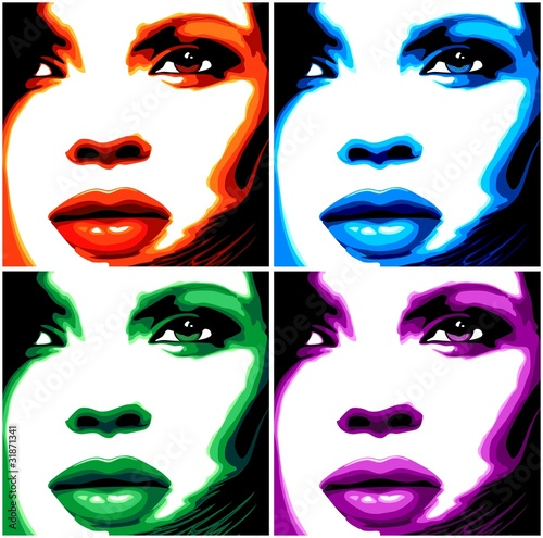 viso-donna-pop-art-4-colori-stylized-woman-girl-face-vector