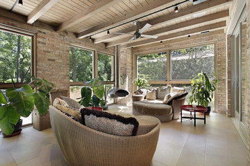 Sunroom with wicker furniture