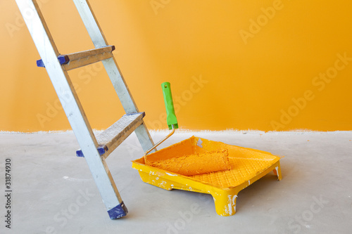 Home Improvement /  ladder, paint can and roller
