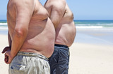 Close up of two obese fat men of the beach poster