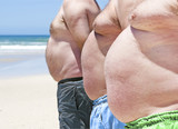 Close up of three obese fat men of the beach poster