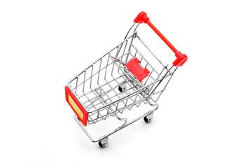isolated shopping cart on white background