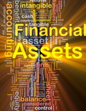Financial assets background concept glowing poster
