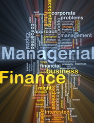 Managerial finance background concept glowing