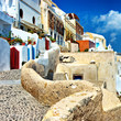 traditional cycladic architecture - Santorini streets