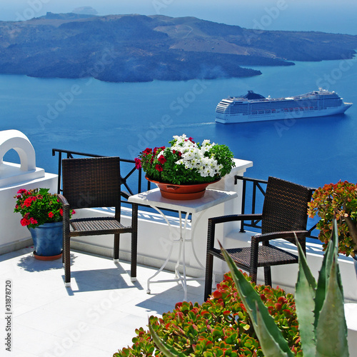 view of volcano  beautiful Santorini