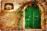 old Greek doors - retro styled picture-