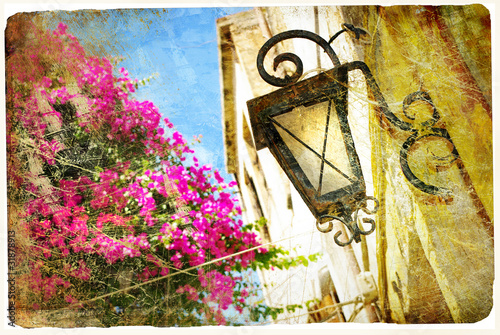 old greek streets - retro styled picture