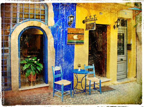 Obraz na Szkle pictorial old streets of Greece - Chania, Crete