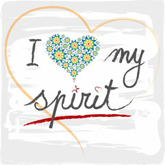 "Illustration ""I love my spirit"" en Anglais"