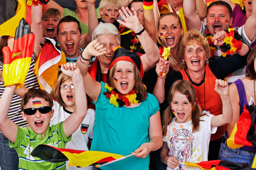young and aged german soccer fans