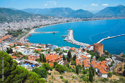Turkish city of Alanya at the Mediterranean sea