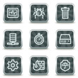 Internet security web icons, grey square buttons