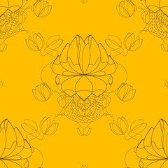 Vector seamless abstract blossom pattern, paper
