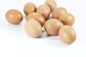Farm fresh brown chicken eggs.