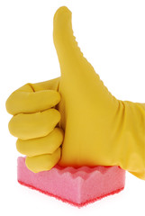 Rubber Glove and red Sponge