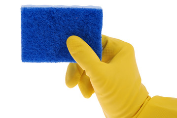 Rubber Glove and blue Sponge