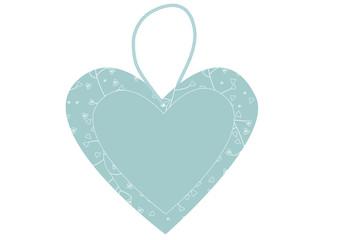 Blaues Herz  Preisschild Anhänger Preissticker