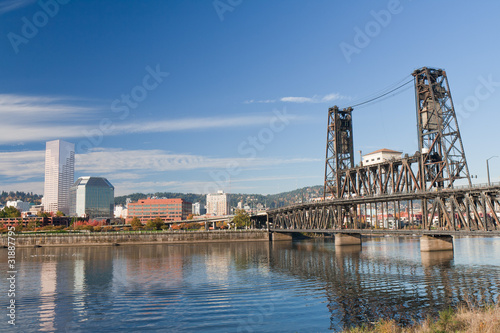 Portland steel bridge and Downtown