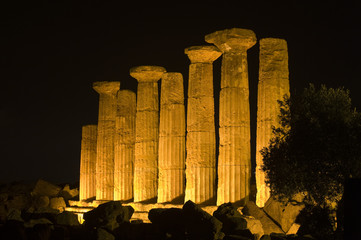 Ercole temple in the night, Agrigento, Sicily, Italy, Europe
