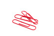 red paper clips isolated on white background