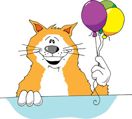 Cartoon image of a cat holding 3 balloons.