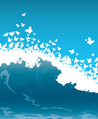 wave with butterflies