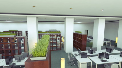 empty business office animation. Flight through office