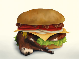 digital painting of a dead cow inside of a cheeseburger