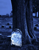 Blank Headstone at Night poster
