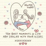 Vector Cute Couple Kisses