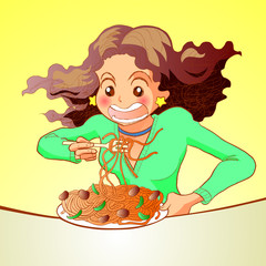 Woman eating spaghetti pasta
