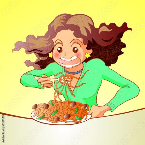 Woman eating spaghetti pasta
