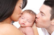 Parents Kissing Baby