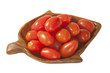 Grape tomatoes in wooden dish, isolated