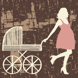 Pregnant woman with carriage. Vector illustration.