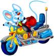 rabbit riding a motorbike