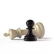 Schachfiguren - schwarzer Bauer und weißer König