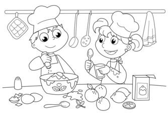 Bambin che cucinano
