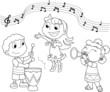 Gruppo musicale di bambini che cantano e suonano