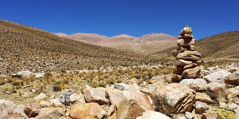 Cairn sur le chemin du sommet (argentine)